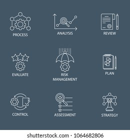 Modern Flat thin line Icon Set in Concept of Risk Management with word Strategy,Risk Management,Assessment,Plan,Control,Review,Evaluate,Analysis,Process. Editable Stroke.
