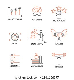Modern Flat thin line Icon Set in Concept of Mentoring and Coaching with word Improvement,Potential,Motivation,Goal,Mentoring,Success,Guidance,Knowledge,Training. Editable Stroke.