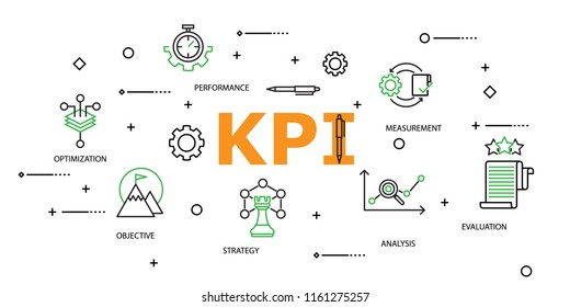 Modern Flat thin line Icon Set in Concept of Key Performance Indicator : KPI with word Strategy,Optimization,Objective,Performance,Analysis,Evaluation,Measurement.Editable Stroke.