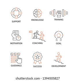 Modern Flat thin line Icon Set in Concept of Mentoring and Coaching with word Support,Knowledge,Traning,Motivation,Coaching,Goal,Guidiance,Success,Development. Editable Stroke