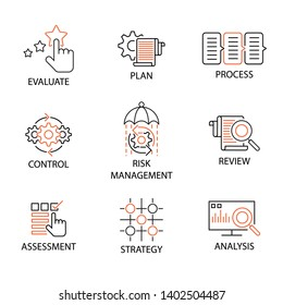 Modern Flat thin line Icon Set in Concept of Business and Risk Management with word Evaluate,Plan,Process,Control,Risk Management,Review,Assessment,Strategy,Analysis. Editable Stroke