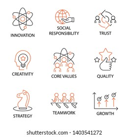 Modern Flat thin line Icon Set in Concept of Business Core Values with word Innovation,Social Responsibility,Trus,Creativity,Corevalue,Quality,Strategy,Teamwork,Growth. Editable Stroke