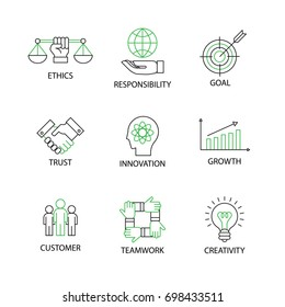 Modern Flat thin line Icon Set in Concept of Business Core Values with word Ethics,Responsibility,Goal,Trust,Innovation,Growth,Customer,Teamwork,Creativity.Editable Stroke.
