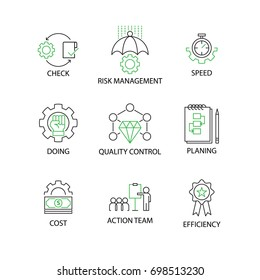 Modern Flat thin line Icon Set in Concept of Quality Control Process with word Check,Risk Management,Speed,Doing,Quality Control,Planing,Cost,Action Team,Efficiency.Editable Stroke.
