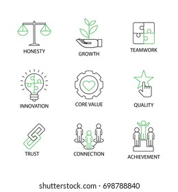 Modern Flat thin line Icon Set in Concept of Business Core Values with word Honesty,Growth,Teamwork,Innovation,Core Value,Quality,Trust,Connection,Achievement.Editable Stroke.