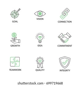 Modern Flat thin line Icon Set in Business Core Values with word Key Goal,Vision,Connection,Growth,Idea,Commitment,Teamwork,Quality,Integrity.Editable Stroke.