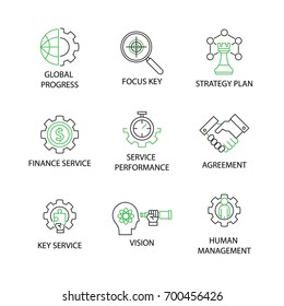 Modern Flat thin line Icon Set in Concept of Business and management with word Human Management, Focus Key,Key Service,vision,Finance Service,Global progress,Strategy plan,Agreement. Editable Stroke.