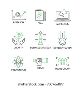 Modern Flat thin line Icon Set in Concept of Business Strategy with word Research,plan,Marketing,Growth,Business Strategy,Differentiation,Innovation,Vision,Focus Group.Editable Stroke.