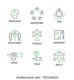 Modern Flat thin line Icon Set in Concept of Business and Management with word task, vision, knowledge, recruitment, ability, value, brainstorm, agreement, strategy. Editable Stroke.