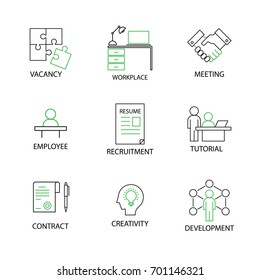 Modern Flat thin line Icon Set in Concept of Human and Resource Management with word Key Vacancy, Recruitment, Meeting, Tutorial, Workplace, Employee, Contract, Development, Ceativity. Editable Stroke.