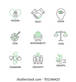 Modern Flat thin line Icon Set in Concept of Business Core Values with word Passion, Trust, Vision, Goal, Responsibility, Ethics, Teamwork, Creativity, Growth. Editable Stroke.