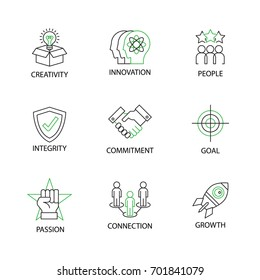 Modern Flat thin line Icon Set in Concept of Business Core Values with word with word integrity,innovation,commitment,creativity,people,passion,goal,growth,connection.Editable Stroke.