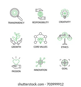 Modern Flat thin line Icon Set in Concept of Business Core Values with word Transparency,Responsibility,Creativity.Growth,Core Values,Ethics,Passion,Innovation,Goal.Editable Stroke.