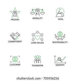Modern Flat thin line Icon Set in Concept of Business Core Values with word Passion,Morality,Goal,Commitment,Responsibility,Customer,Teamwork,Growth.Editable Stroke.