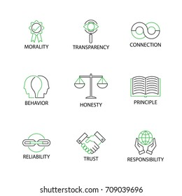 Modern Flat thin line Icon Set in Concept of Business Ethics with word Morality,Transparency,Connection,Behavior,Honesty,Principle,Reliability,Trust,Responsibility.Editable Stroke.