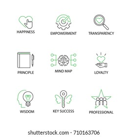 Modern Flat thin line Icon Set in Concept of Business Core Values with word Happiness,Empowerment,Transparency,Principle, Mind map,Loyalty,Wisdom,Key Success,Professional.Editable Stroke.