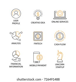 Modern Flat thin line Icon Set in Concept of Digital Marketing with word Profile,Creative Idea,Service,Analysis,Fintech,Cash Flow,Financial Information,Mobile Payment,Unicorn Startup. Editable Stroke.
