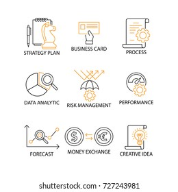 Modern Flat thin line Icon Set in Concept of Digital Marketing with word Strategy Plan,Business Card,Process,Data Analytic,Risk Management,Performance,Forecast,Exchange,Creative Idea. Editable Stroke.