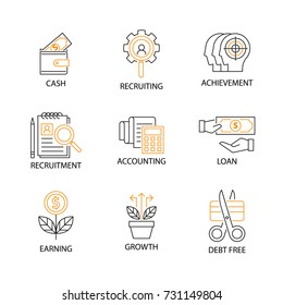 Modern Flat thin line Icon Set in Concept of Digital Marketing with word Cash,Recruiting,Achievement,Recruitment,Accounting,Loan,Earning,Growth,Debt Free. Editable Stroke.