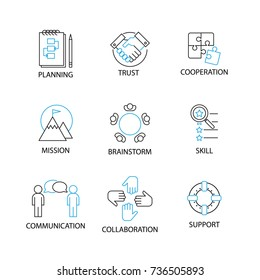 Modern Flat thin line Icon Set in Concept of Team Management with word Planning,Trust,Cooperation,Mission,Brainstorm,Skill,Communication,Collaboration,Support.Editable Stroke.