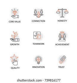 Modern Flat thin line Icon Set in Concept of Business Core Values with Words: Core Value,Connection,Honesty,Growth,Teamwork,Achievement,Quality,Innovation,Trust.Editable Stroke.