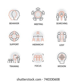 Modern Flat thin line Icon Set in Concept of Team Management with word Behavior,Meeting,Searching,Support,Hierarchy,Lost,Training,Focus,Mission.Editable Stroke.