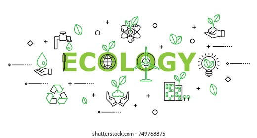 Modern Flat thin line Icon Set in Concept of Ecology. Editable Stroke.