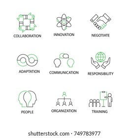 Modern Flat thin line Icon Set in Concept of Soft Skills with word Collaboration,Innovation,Negotiate,Adaptation,Communication,Responsibility,People,Organization,Training. Editable Stroke.
