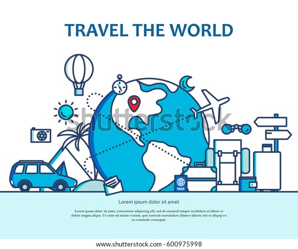 Modern flat thin line monochrome blue design vector illustration, concept of traveling around the world, journey and trip to other countries, for graphic and web design