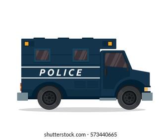 Modern Flat Urban Vehicle Illustration Logo - Police Prisoner Van