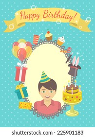 Modern Flat Vector Birthday Card With Happy Boy Gifts Balloons Cake