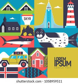 Modern flat vector concept with Icelandic symbols. Black church, blue lagoon, hakarl, icelandic house, glacier and other design elements. Unique design for travel to Iceland poster, banner, flayer.
