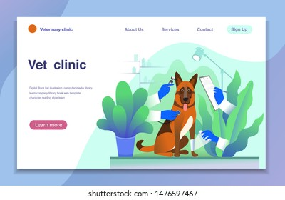 Modern flat vector concept  for landing page. Dog treatment metaphor in vet clinic,- dog and hands wearing gloves  with a stethoscope , with clipboard, and bandag. Veterinary service, pharmacy.