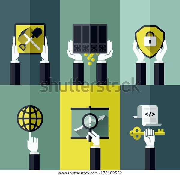Modern flat vector design elements with hands holding digital currency symbols