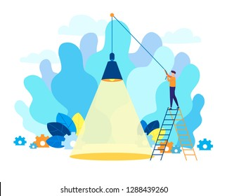 Modern flat vector illustration. Character is holding a lamp on a rope. Lamp, spotlight creative abstract concept. Place for your text or objects