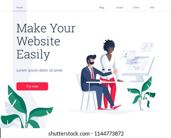 Modern flat vector illustration concept of people making web page design for website. Creative landing page design template.