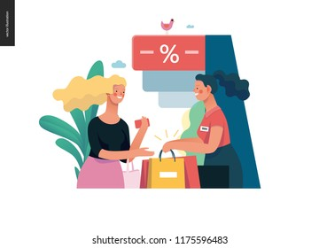 modern flat vector illustration concept of a customer and a shop assistant. Selling interaction and purchasing process. Creative landing page design template