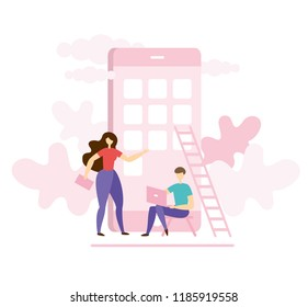 Modern flat vector illustration concept of people making app design. Creative landing page design template.