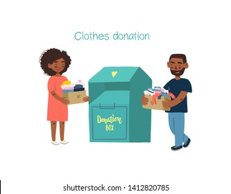 Modern flat vector illustration. Couple or volunteers holding cardboard boxes with clothing for donation or recycling and clothing container.