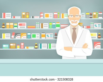 Modern flat vector illustration of a smiling aged male pharmacist at the counter in a pharmacy opposite of shelves with medicines. Health care conceptual background