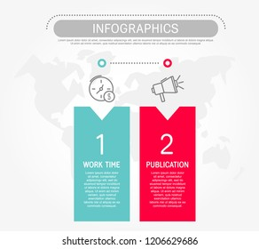 Modern flat vector illustration. Template infographics with two elements, rectangles. Contains text and icons. Designed for business, presentations, web design, diagrams with 2 steps.