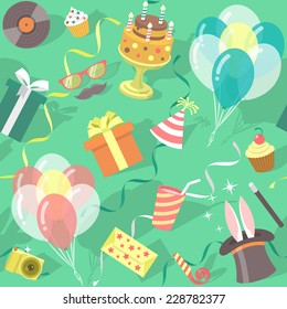 Modern flat vector seamless birthday party pattern with colorful icons of gift boxes, balloons, birthday cake, magic tricks, party hat etc. Invitation card, wrapping paper or website background design