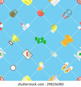 Modern flat vector seamless pattern with icons of a healthy lifestyle, fitness and physical activity. Wrapping paper design, desktop wallpaper, website background