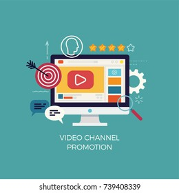 Modern flat vector video channel promotion concept illustration. Ideal for social media posts, marketing, web and graphic design