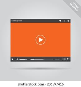 Modern flat video player interface