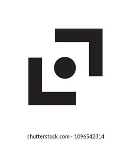 Modern Flat Viewfinder Focus Logo Icon Emblem