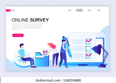 Modern flat web page design template of Online Survey decorated people character for website and mobile website development. Flat landing page template. Vector illustration.