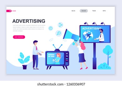 Modern flat web page design template of Advertising and Promotion decorated people character for website and mobile website development. Flat landing page template. Vector illustration.