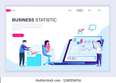 Modern flat web page design template of Business Statistic decorated people character for website and mobile website development. Flat landing page template. Vector illustration.