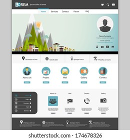Modern Flat Website template design  with Eco landsacpe illustration.